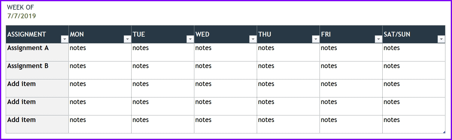 Download Weekly Time Sheet Template for free